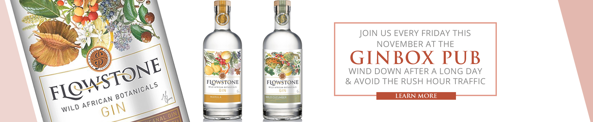 Come join us for Gin cocktails and amazing food at the Ginbox Pub! Misty Hills and Flowstone Gin every Fridays this November from 4-6pm